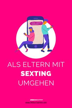 """pinker Hintergrund mit Grafik von 2 Personen, die sich auf dem Handy Nachrichten schreiben. Als Text steht """"Als Eltern mit Sexting umgehen."""""""