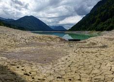 Niedrigwasser am Sylvensteinsee