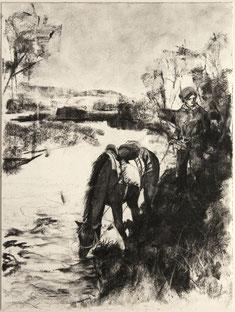 """""""Am Dnepr"""", Kohle auf Papier, 36 × 48 cm, 2019"""