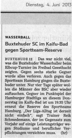 Buxtehuder SC im Kaifu-Bad gegen Sportteam-Reserve, Hamburger Abendblatt vom 04.06.2013