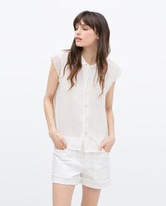 Zara Broderie Anglaise Collar Top