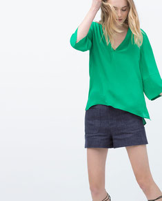 Zara Green V Neck Top