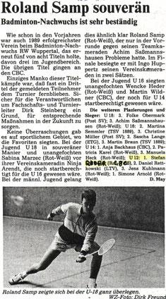 WZ vom 20.01.1989 Wuppertaler Stadtmeisterschaften Jugend Einzel