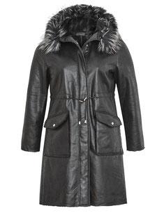 Mantel aus Wildlederimitat mit Teddyfutter schwarz in XXL