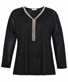 elegante Mode für mollige junge Frauen, schwarzer Damen-Feinstrickpullover mit V-Ausschnitt