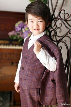 七五三お衣装セットs5-8『3pcスーツ エンジ』