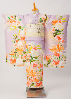 7−60 薄紫アプリコットの着物