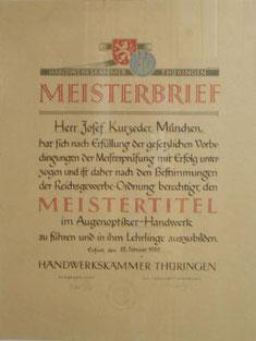 Meisterbrief von Josef Kurzeder