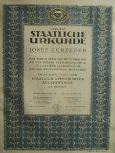 Staatliche Urkunde von Josef Kurzeder