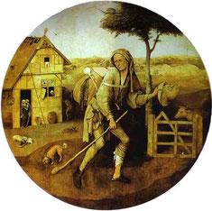Le Vagabond (ou Le Colporteur), tableau du peintre néerlandais Jérôme Bosch réalisé entre 1490 et 1510, Musée Boijmans Van Beuningen à Rotterdam- Cliquer pour agrandir