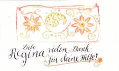 Kleine Danke-Karte mit Pralinen oder Blumen verschenken