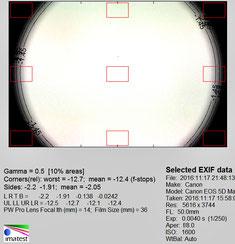Виньетирование, полный кадр, 50 мм, f/8.0