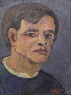 Selbstbildnis, 1982,       Öl auf Sperrholz, 39,5 x 30 cm