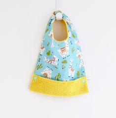 Bavoir bébé enfant repas lamas jaune tendance