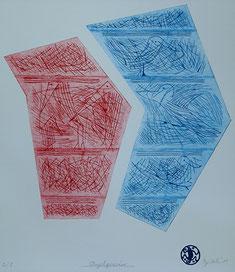 Vogelgewirr: Tiefdruck auf Bütten, Auflage 5, 45 x 32 cm, 2011