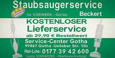 Staubsaugerservice Beckert      Service-Center Gotha  Uelleber Str. 13 99867 Gotha  Telefon 0177 3942600