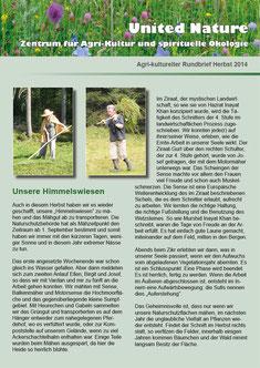 Agri-kulutreller Rundbrief Herbst 2014