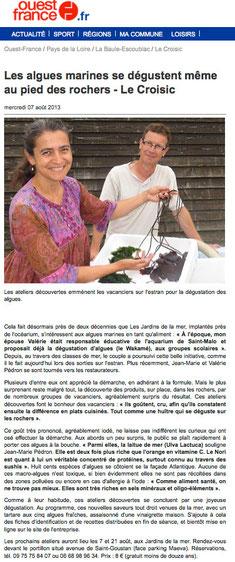 Ouest-France, le 7 août 2013