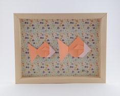 Cadre origami 2 poissons - Format 18x24cm - 38€