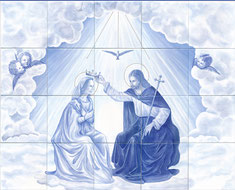 Oratoire personnalisé, peint à la main sur carrelage faïence et cuit entre 850°C et 820°C. (1,20m x 1m).