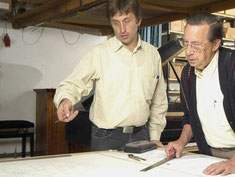 Lothar Thomma at Steingraber piano factory with  Wolfgang Schäffler