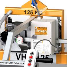 Finken Vakuumheber mit Sicherheitswarneinrichtung: optische Anzeige mit rot/grün-Bereich und akustischem Signalgeber im robusten Schaltkasten