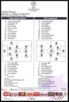Feuille de match  PSG-Anderlecht  2017-18