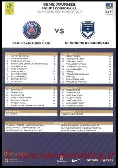Feuille de match  PSG-Bordeaux  2017-18