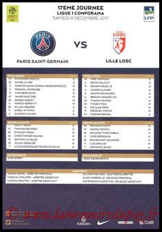 Feuille de match  PSG-Lille  2017-18