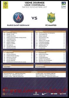 Feuille de match  PSG-Nantes  2017-18
