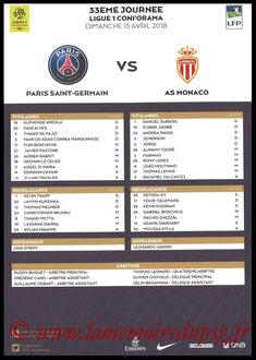 Feuille de match  PSG-Monaco  2017-18