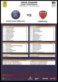 Feuille de match  PSG-Dijon  2017-18