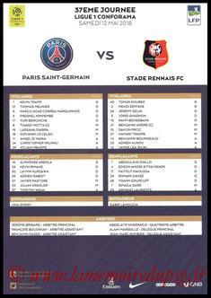 Feuille de match  PSG-Rennes  2017-18
