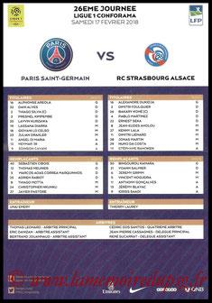 Feuille de match  PSG-Strasbourg  2017-18