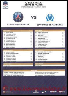 Feuille de match  PSG-Marseille  2017-18