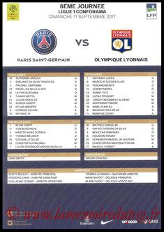 Feuille de match  PSG-Lyon  2017-18