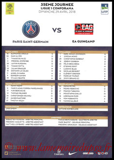 Feuille de match  PSG-Guingamp  2017-18