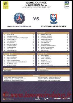 Feuille de match  PSG-Caen  2017-18