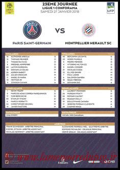 Feuille de match  PSG-Montpellier  2017-18
