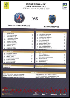 Feuille de match  PSG-Troyes  2017-18