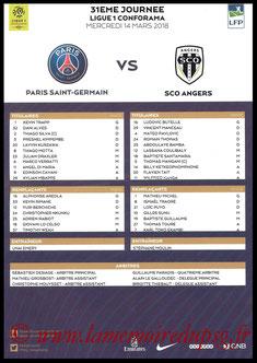 Feuille de match  PSG-Angers  2017-18