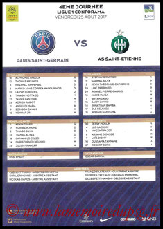 Feuille de match  PSG-Saint Etienne  2017-18