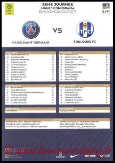 Feuille de match  PSG-Toulouse  2017-18