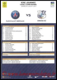 Feuille de match  PSG-Amiens  2017-18