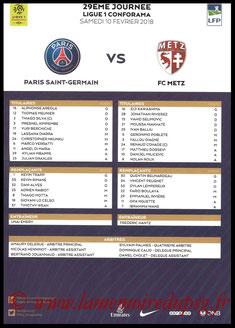 Feuille de match  PSG-Metz  2017-18