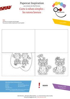 Aperçu page 2 du DIY pas à pas gratuit de l'illustratrice Cloé Perrotin pour créer une carte à rabats simples sur le thème des ratons laveurs