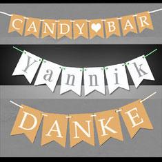 Papier Girlanden Hochzeit Wedding Brautpaar Vintage Danke Candybar