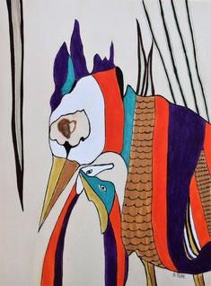 Oiseaux n°5, acrylique et posca sur bois