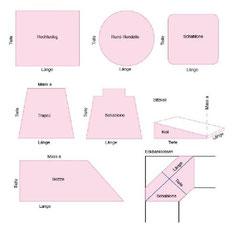Abbildungen von verschiedenen formen rechteckig rund for Innendekoration bern