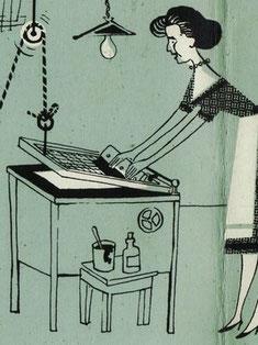Traimers Ehefrau in der Siebdruckerei 1958.